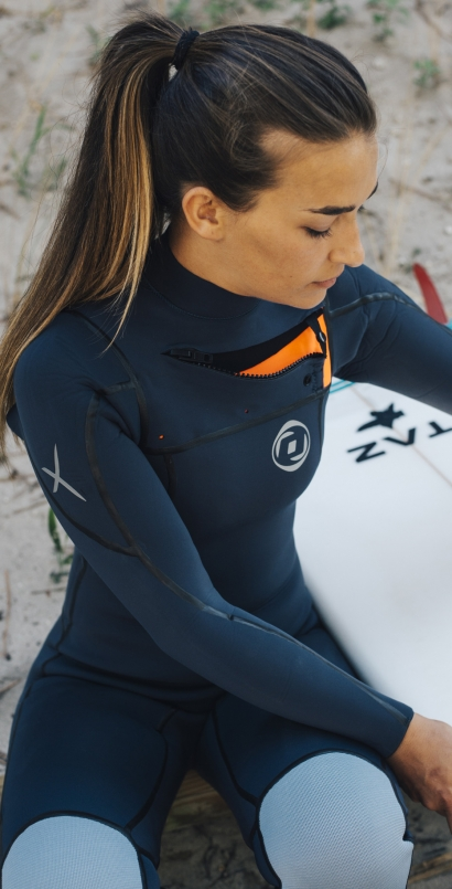 Woman Wetsuit ONDA ZFLEX W 4/3MM Neoprene with Chest Zip for Surf
